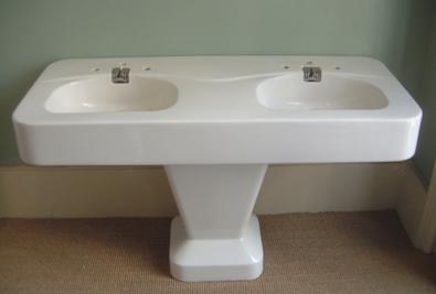 Baignoires anciennes - Lavabo double vasque sur colonne ...